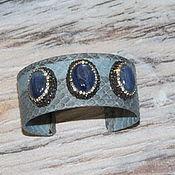 Украшения handmade. Livemaster - original item bracelet Indigo genuine leather with kyanite. Handmade.