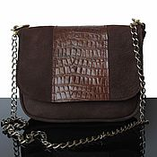Сумки и аксессуары ручной работы. Ярмарка Мастеров - ручная работа Замшевая сумочка, коричневый клатч, дизайнерская сумка, коричневый. Handmade.