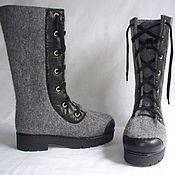 Обувь ручной работы. Ярмарка Мастеров - ручная работа Ботинки валяные Gray. Handmade.