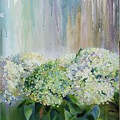 Картины и панно handmade. Livemaster - original item interior painting. Hydrangeas in the rain.. Handmade.