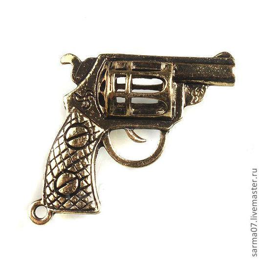"""Для украшений ручной работы. Ярмарка Мастеров - ручная работа. Купить Винтажная подвеска """"Револьвер"""". Handmade. Коричневый, латунная подвеска"""