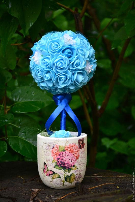 """Топиарии ручной работы. Ярмарка Мастеров - ручная работа. Купить Топиарий """"Небесный"""". Handmade. Голубой, топиарий дерево счастья, Топиарии"""