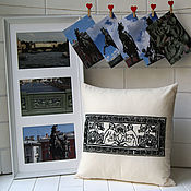 Для дома и интерьера handmade. Livemaster - original item Pillow with hand embroidery Anichkov bridge set of author`s cards. Handmade.