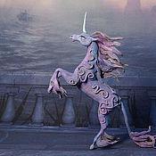 Куклы и игрушки ручной работы. Ярмарка Мастеров - ручная работа Магический Единорог Статуэтка (лиловый синий волшебный ) лошадь. Handmade.
