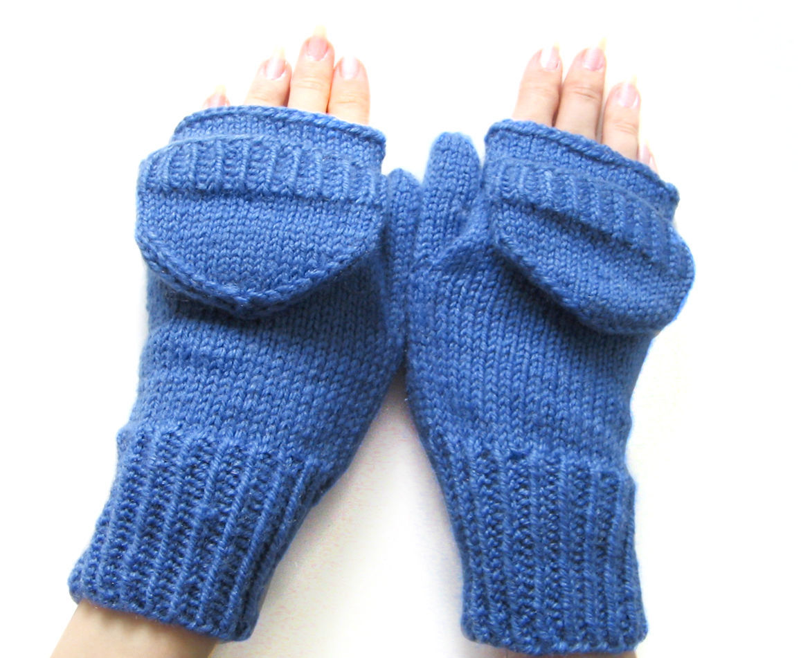 Mittens-mittens with knitted caps level blue, Mittens, Orenburg,  Фото №1