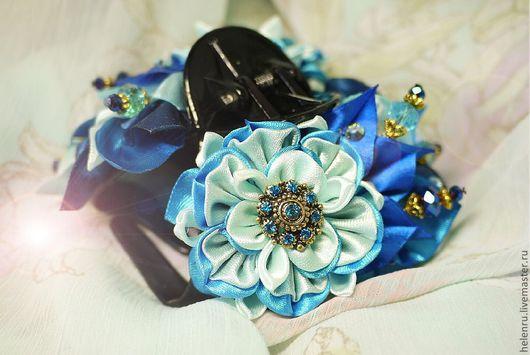 Заколки ручной работы. Ярмарка Мастеров - ручная работа. Купить краб, заколка для волос с цветами Канзаши. Handmade. Канзаши