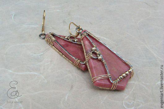"""Серьги ручной работы. Ярмарка Мастеров - ручная работа. Купить Серьги """"Розовый винтаж"""" (родонит, серебро, голд филл). Handmade."""