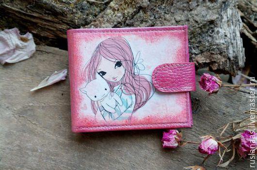 Кошельки и визитницы ручной работы. Ярмарка Мастеров - ручная работа. Купить Кошелёк розовый с рисунком натуральная кожа для девушки. Handmade.
