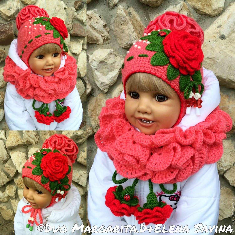 """Купить """"Розы""""- шапочка+шарфик - цветочный, шапочка, шапочка крючком, шапочка для девочки, зимняя шапочка"""