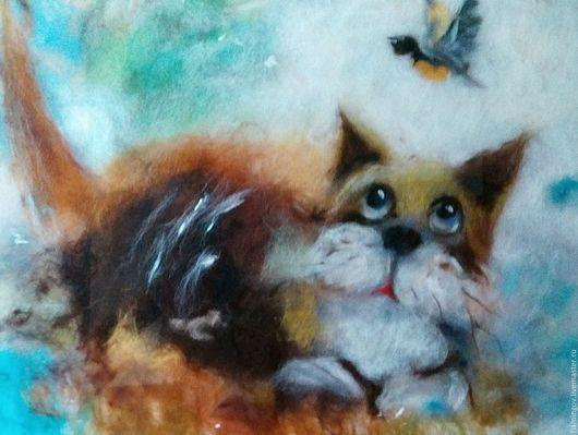 """Животные ручной работы. Ярмарка Мастеров - ручная работа. Купить Картина из шерсти """"Ты ж моя Птичка!"""". Handmade. Рыжий"""