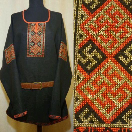 Для мужчин, ручной работы. Ярмарка Мастеров - ручная работа. Купить Мужская славянская обрядовая рубаха с обережной вышивкой.. Handmade.