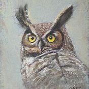 Картины и панно handmade. Livemaster - original item Painting with a bird Portrait of an owl-pastel painting. Handmade.