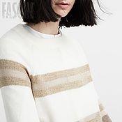 """Одежда ручной работы. Ярмарка Мастеров - ручная работа Свитер бежевый """"Stripe"""" Бежевый свитер Бежевый свитер Бежевый. Handmade."""