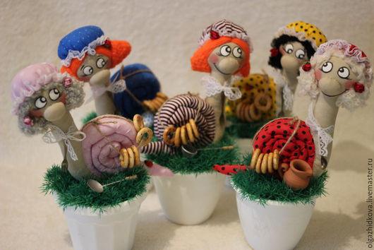 Куклы Тильды ручной работы. Ярмарка Мастеров - ручная работа. Купить Улитка интерьерная в горшочке. Handmade. Разноцветный, розовый, улиточка