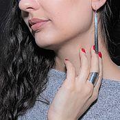 Украшения handmade. Livemaster - original item Minima Series Spear Ring and earrings in polished silver. Handmade.