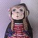 Игрушки животные, ручной работы. Ярмарка Мастеров - ручная работа. Купить текстильная обезьянка. Handmade. Ярко-красный, хлопок 100%