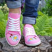 Обувь ручной работы. Ярмарка Мастеров - ручная работа джинсовые кеды Ромашка. Handmade.