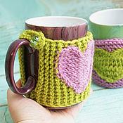 Mugs handmade. Livemaster - original item Mug with a hot water bottle Knitted heart. Handmade.