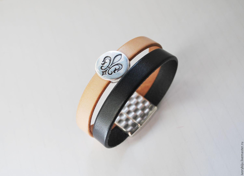 Кожаный браслет двойной с бусиной лилия, черно-бежевый, Браслеты, Москва, Фото №1