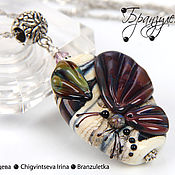 Украшения handmade. Livemaster - original item Butterfly set earrings and pendant copyright lampwork lampwork. Handmade.
