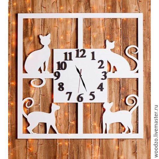 Часы для дома ручной работы. Ярмарка Мастеров - ручная работа. Купить Часы настенные с котиками. Handmade. Кошки, часы настенные