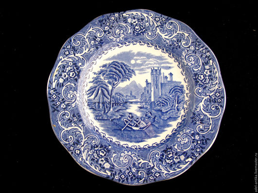 """Винтажная посуда. Ярмарка Мастеров - ручная работа. Купить Тарелка """"Речная сцена"""". Handmade. Тёмно-синий, wedgwood"""