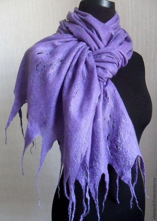 """Шарфы и шарфики ручной работы. Ярмарка Мастеров - ручная работа. Купить шарф """"Лаванда"""". Handmade. Шарф, легкий, валяный палантин"""