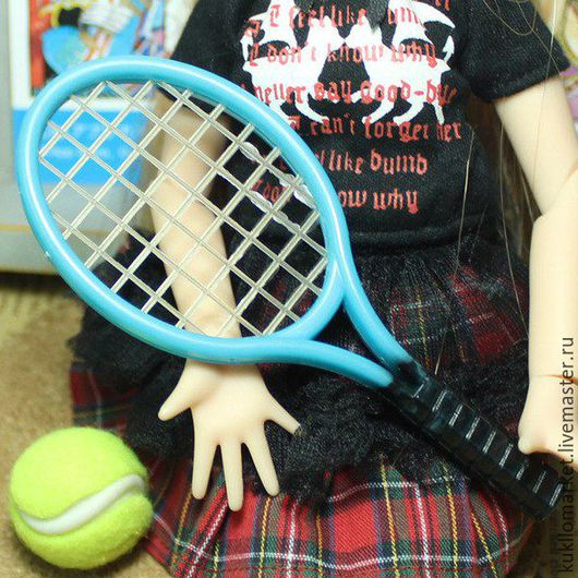 Куклы и игрушки ручной работы. Ярмарка Мастеров - ручная работа. Купить Ракетки для кукол с мячиком. Handmade. Комбинированный, аксессуары для куклы