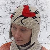 Аксессуары ручной работы. Ярмарка Мастеров - ручная работа Вязаная крючком теплая шапка Мезень с козьим пухом. Handmade.