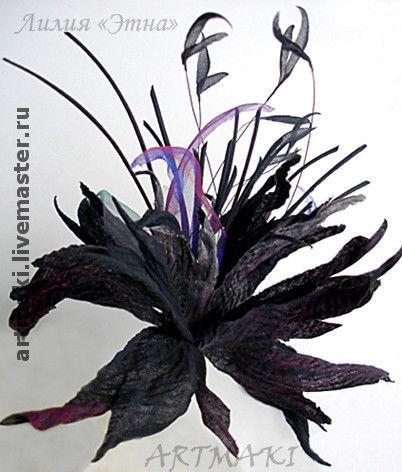 """Цветы ручной работы. Ярмарка Мастеров - ручная работа. Купить Фантазийная лилия """"Этна"""". Handmade. Шелковые цветы"""