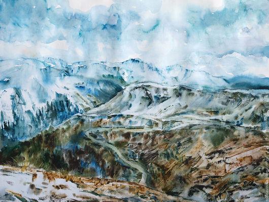Пейзаж ручной работы. Ярмарка Мастеров - ручная работа. Купить Уральские горы. Handmade. Голубой, горный пейзаж, Дали