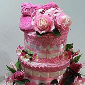 Подарки к праздникам ручной работы. Ярмарка Мастеров - ручная работа торт памперсный  для  девочки. Handmade.