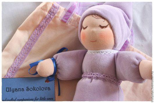 Вальдорфская игрушка ручной работы. Ярмарка Мастеров - ручная работа. Купить Кукла. Handmade. Сиреневый, кукла в подарок, кружевная тесьма