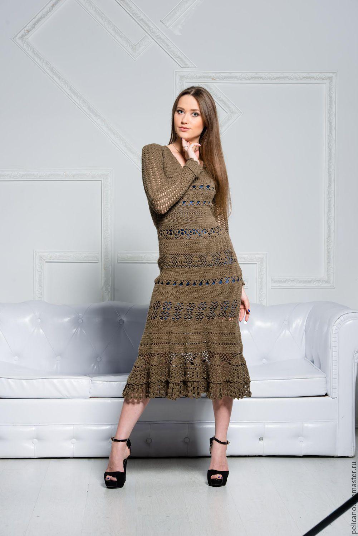 Вязаное платье крючком купить