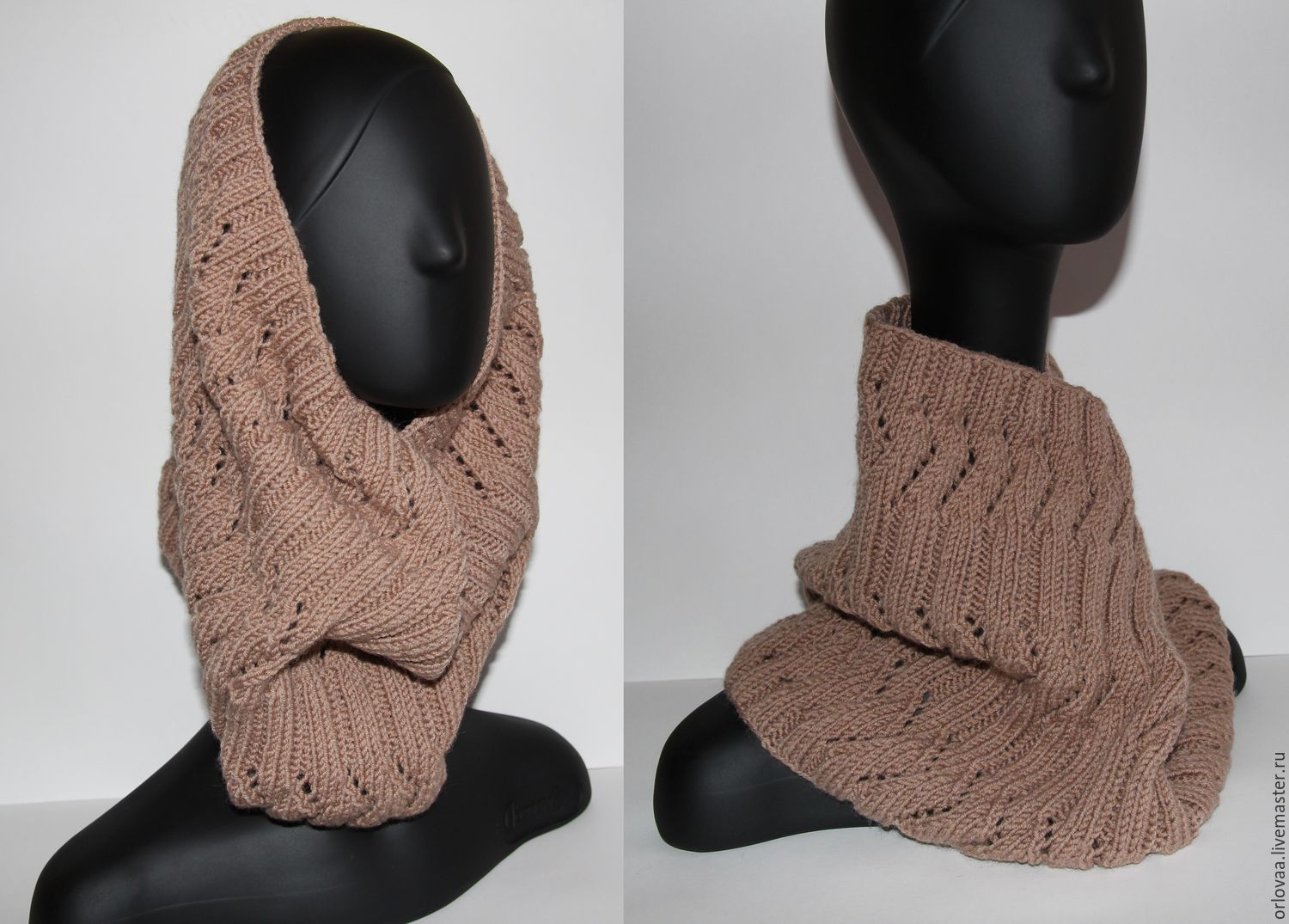 Knitted Snood with openwork pattern 'coffee with milk', Scarves, Moscow,  Фото №1
