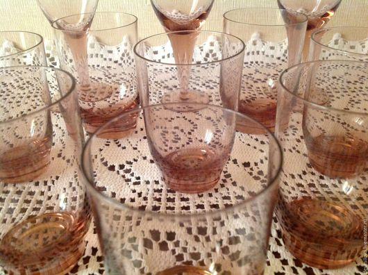 Винтажная посуда. Ярмарка Мастеров - ручная работа. Купить Винтаж.Набор бокалов и стопок. Цветное стекло. 60-е.. Handmade.