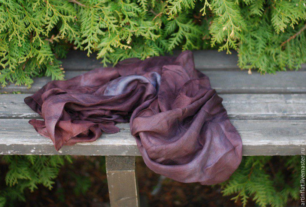 Eco-friendly scarf 'Eggplant' Indigo madder, Scarves, Moscow,  Фото №1