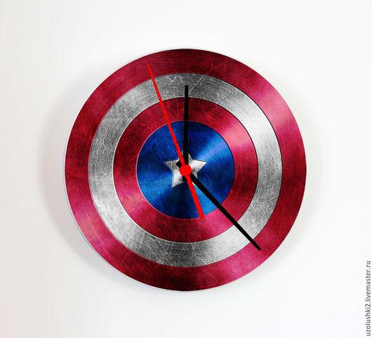 """Часы для дома ручной работы. Ярмарка Мастеров - ручная работа. Купить Настенные часы """"Капитан Америка"""". Handmade. Черный, часы"""