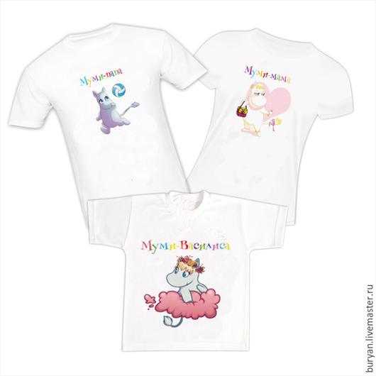 """Футболки, майки ручной работы. Ярмарка Мастеров - ручная работа. Купить Семейный комплект футболок """"Муми-тролли"""". Handmade. Белый"""