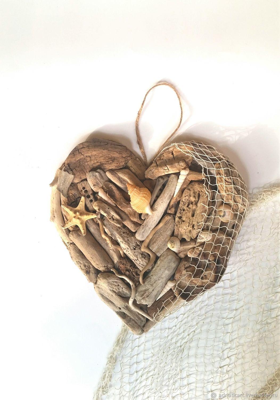 Сердце рыбака из дерева дрифтвуд с морской сетью 24 см, Подвески, Москва,  Фото №1