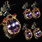 Украшения handmade. Livemaster - original item Earrings Demetra-Amethyst Garnets Silver gold-Plated Rhodium-plated. Handmade.