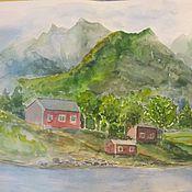 """Картины и панно ручной работы. Ярмарка Мастеров - ручная работа картина """"Дом у воды"""". Handmade."""