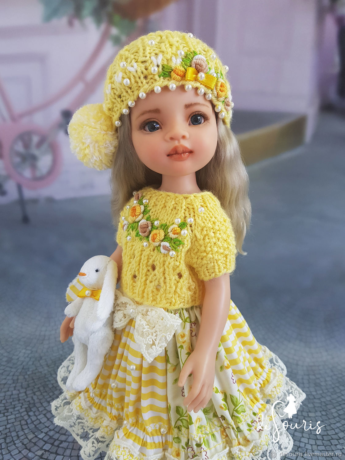 Clothes for Paola Reina dolls. Summer yellow set with Bunny, Clothes for dolls, Voronezh,  Фото №1