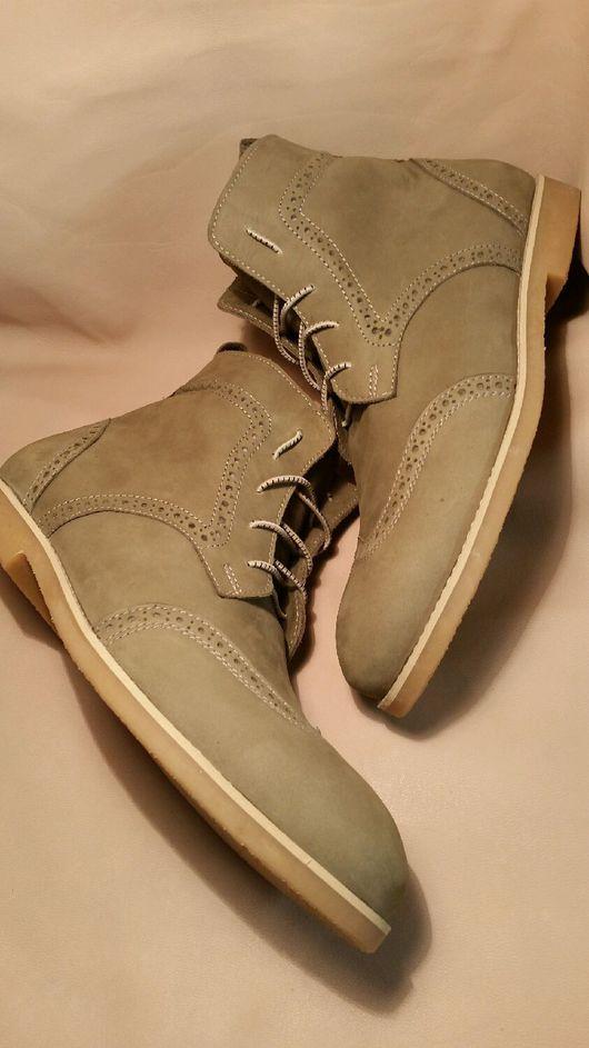 Обувь ручной работы. Ярмарка Мастеров - ручная работа. Купить Мужские зимние ботинки. Handmade. Броги, шнурки, мех