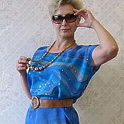 """Одежда ручной работы. Ярмарка Мастеров - ручная работа Блуза-туника """"Морская синева"""".. Handmade."""