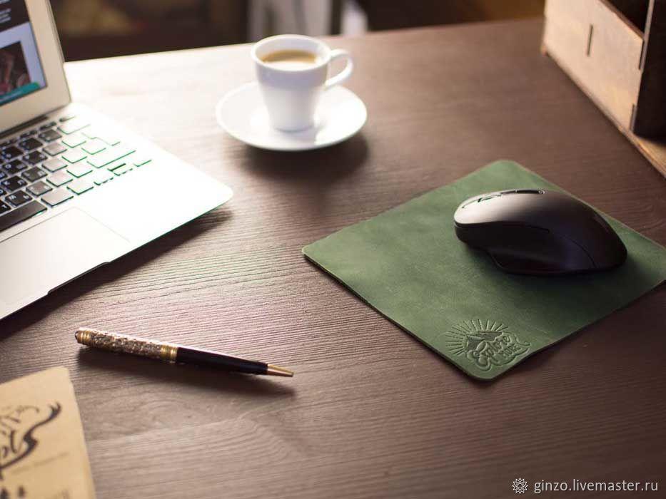 Кожаный коврик для мыши -SLIDE- цвет Зеленый, Комплекты аксессуаров для дома, Тула,  Фото №1