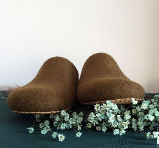 Обувь ручной работы. Ярмарка Мастеров - ручная работа. Купить Тапочки валяные мужские. Handmade. Домашние тапочки, шлепки