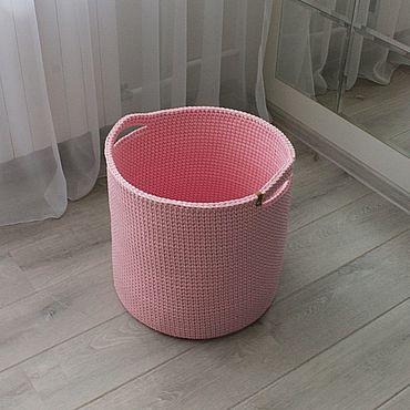Для дома и интерьера ручной работы. Ярмарка Мастеров - ручная работа Корзины: вязаная корзина для хранения, размер L. Handmade.