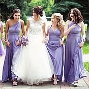 Одежда ручной работы. Ярмарка Мастеров - ручная работа Сиреневые платья для подружек невесты, сиреневые платья-трансформеры. Handmade.