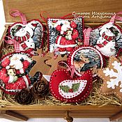 Подарки к праздникам handmade. Livemaster - original item Set of 7pcs. Christmas toys Snowman Santa Claus in the woods. Handmade.